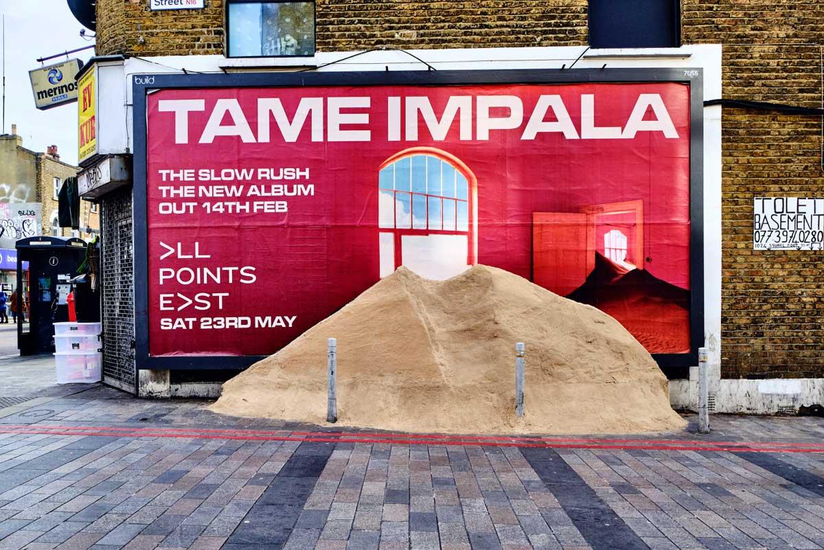 We brought a ton of sand to Dalston to mark the return of Tame Impala